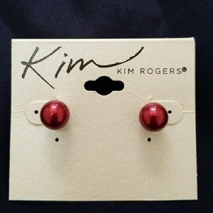 Red NWOT metallic stud ball earrings